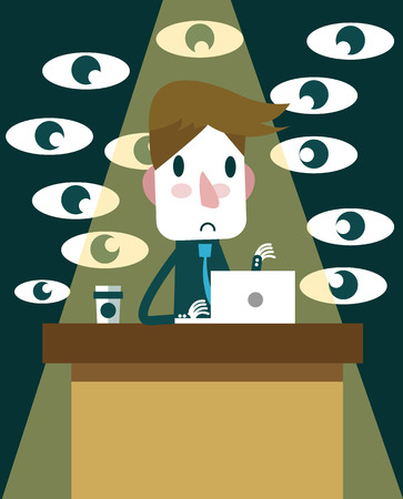 oppress: Business working on desk with many eye force. work force concept. vector illustration