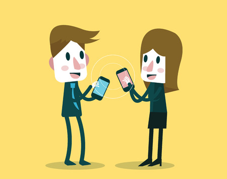 exchanging: Businessman and woman sharing and exchanging data with smartphone. flat character design. vector illustration Illustration