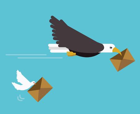 독수리와 비둘기 메일 배달. 빠른 배달 개념입니다. 평면 벡터 일러스트 레이 션