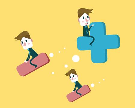 ridding: Business ridding Sign. Positive and Negative Thinking concept . flat design elements. vector illustration