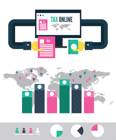 Tax payment online info graphic. flat design elements. vector illustration Illustration