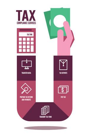 Tax compliance info graphic. flat design elements. vector illustration Illustration