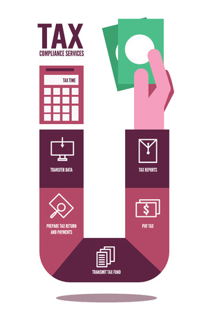 Tax compliance info graphic. flat design elements. vector illustration Ilustração