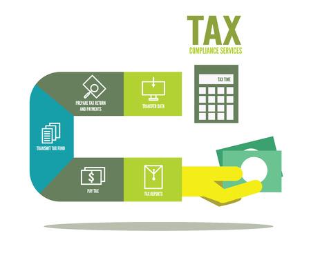 impuestos: Cumplimiento tributario información gráfica. elementos de diseño de planos. ilustración vectorial Vectores