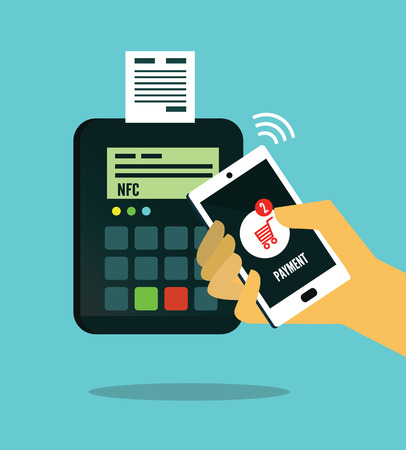NFC - Near field communication. Mobile payment. flat design. vector illustration Illustration