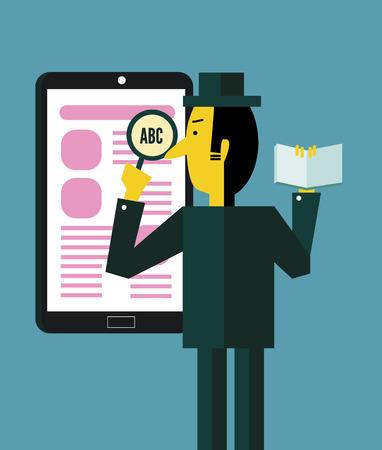 Businessman searching information on smart device. flat design. vector illustration Vector