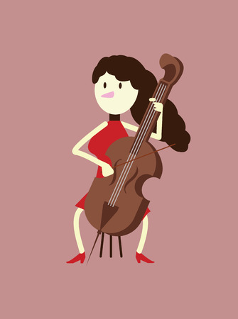 Red dress woman playing the cello. flat character design. vector illustration