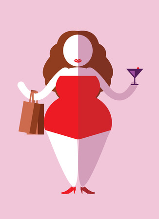 Happy plump woman enjoy shopping and party. flat character design. vector illustration