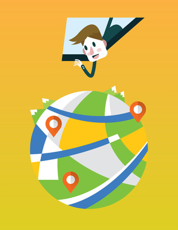 business person seeing map direction from smartphone window. technology concept. flat design elements. vector illustration Vector
