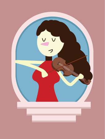 soloist: Red dress woman Playing the Violin on window. flat character design. vector illustration