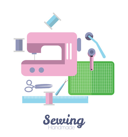 needlework: Sewing equipment and tailor needlework accessories. flat design elements. vector Illustration