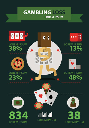 roulette online: Unlucky Gambling Player. flat icons and info graphic. vector illustration Illustration
