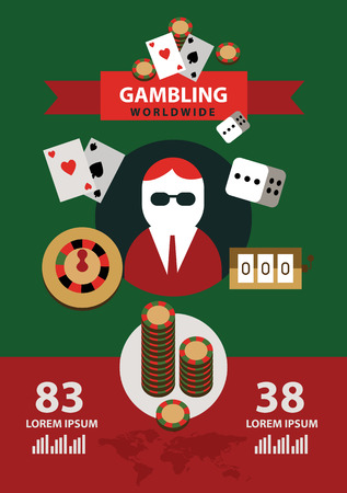 online roulette: Gambling icons and infographics. flat design element. vector illustration