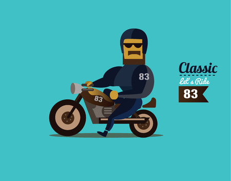 Biker riding motorcycle. flat character design. vector illustration