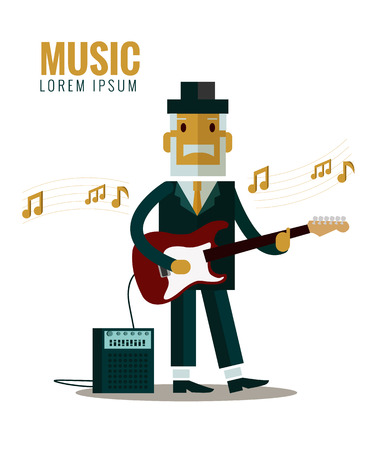 melodies: Musician wearing suit and hat playing guitar. flat character design. vector illustration