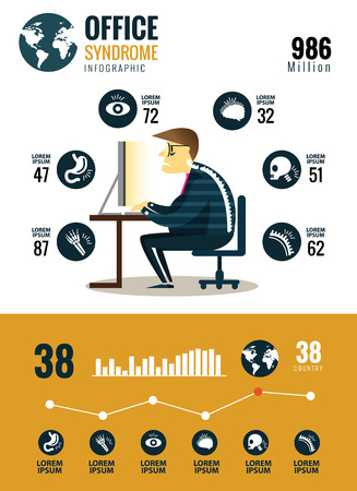 man in pain: Office syndrome Infographics. flat character and icons design. vector illustration Illustration