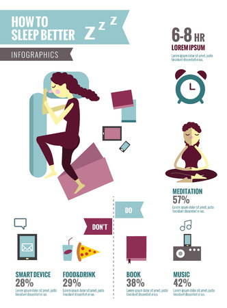 don't: How to sleep better.  Infographics with icons set flat design elements. vector illustration. Illustration