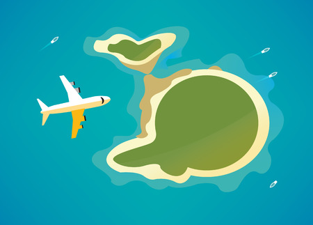 island: Plane over the tropical island. flat design elements. vector illustration