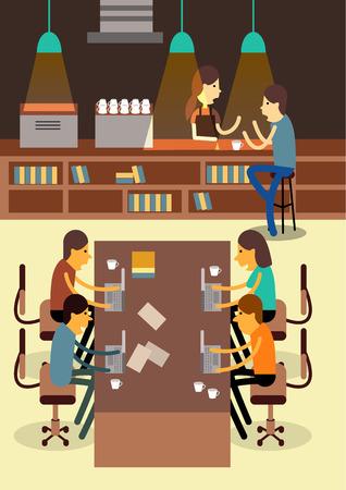 Coworking Space. Creativity communication. flat design elements. vector illustration Illustration