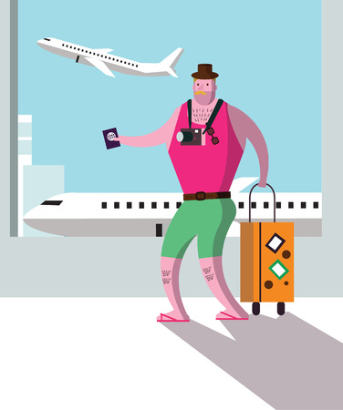 flat character: Tourist at airport terminal travel and vacation concept. flat character design. vector illustration