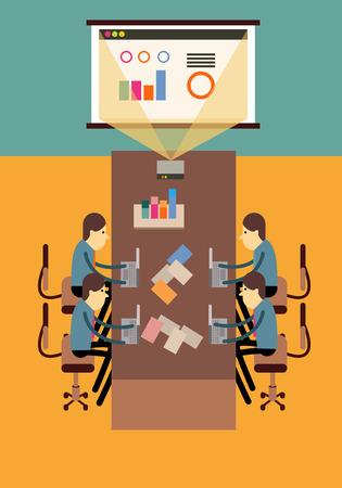 projector screen: Imprenditori seduta in una sala conferenze guardando lo schermo del proiettore. elementi di design piatte. illustrazione vettoriale Vettoriali