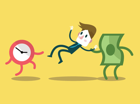 analogy: Money steal businessman from time. work force concept. flat design character. vector illustration