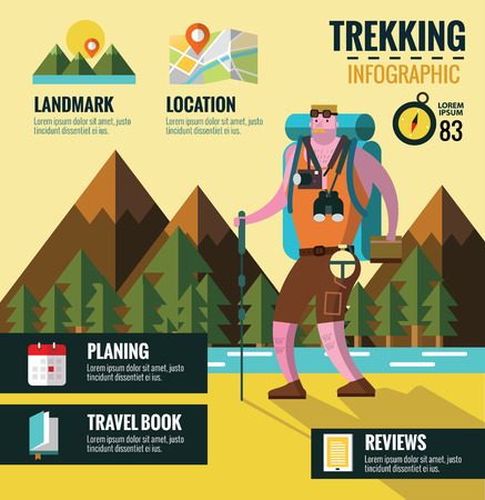 Hiking and Trekking info graphics. Mountain background. flat design elements, vector.