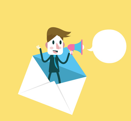 Business man holding megaphone for Email promotions. Digital marketing  concept. Flat design vector illustration