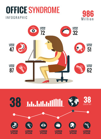 Office syndrome Infographics. flat character and icons design. vector illustration Ilustração