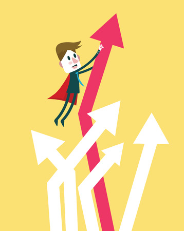 timely: Super businessman bring graph growth up. flat design character. vector illustration