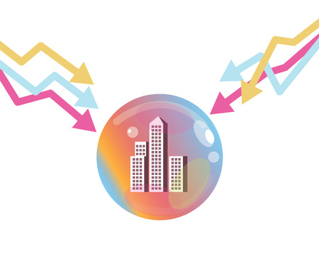 condominium: Stock market graph down to pop the property bubble. Financial Crisis Concept. flat design elements. vector illustration