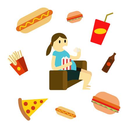 sedentario: Mujer sedentaria comer comida rápida en el sofá. elementos de diseño de planos. ilustración vectorial Foto de archivo