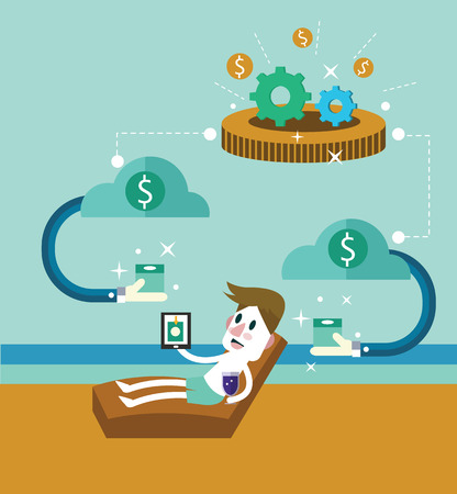 Passive income. Businessman at the beach receive money from clound. flat design elements. vector illustration