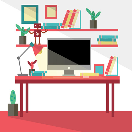 architects: Flat design vector illustration of modern creative office workspace,workplace with computer.