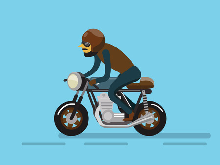 motors: Biker riding motorcycle. flat character design. vector illustration