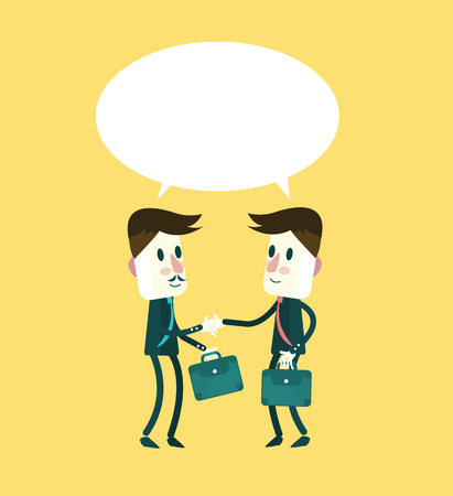 handshaking: Two smiling businessman in suits are handshaking and talking. flat character design. vector illustration Illustration