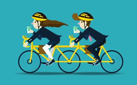 Business people cycling to work. teamwork concept.flat design character. vector illustration