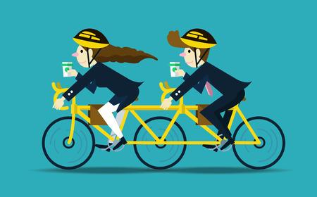 parejas felices: La gente de negocios en bicicleta a trabajar. el trabajo en equipo concept.flat car�cter dise�o. ilustraci�n vectorial Vectores