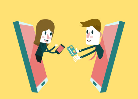 segurar: Compras on-line, loja on-line no telefone inteligente. Business and Concept Marketing Digital. Projeto plano. ilustração vetorial