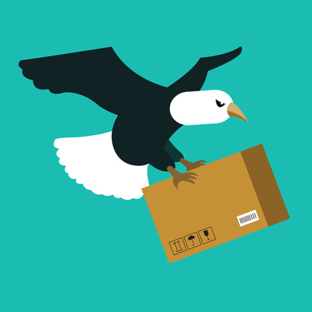 Eagle delivery. fast delivery concept. flat vector illustration