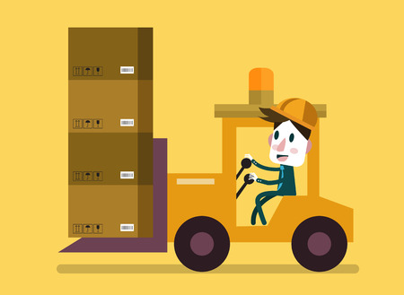 machine operator: Loading and unloading machine. Industry cargo equipment, forklift and delivery, shipping and loader, operator working. Flat vector illustration Illustration
