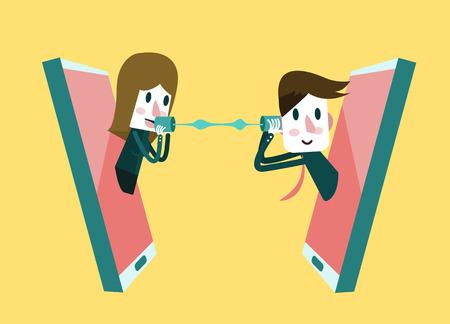 L'homme et la femme qui parle sur un téléphone mobile