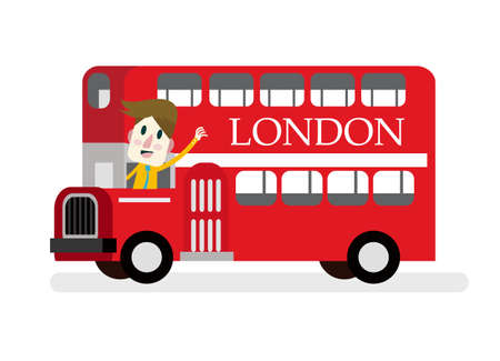 route master: Smile man with red Die cast miniature London Route Master bus.   Illustration