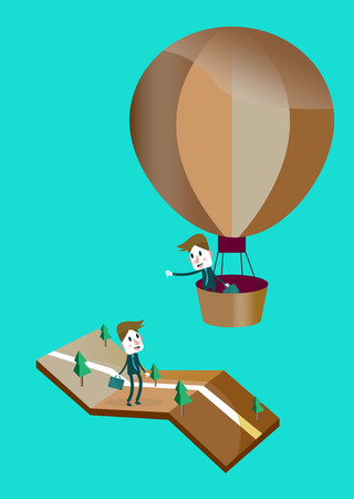 ascent: Businessman in a hot air balloon,   Illustration