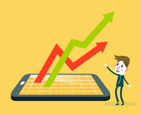Unternehmer gerade Smartphone mit Aktienmarkt Anwendung und Wachstumdiagramm. v Vektorgrafik