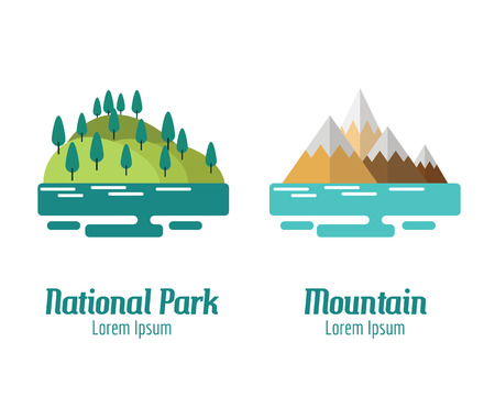 park icon: National Park and Mountain landscape. flat design elements. vector illustration Illustration