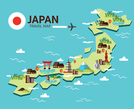 Japan landmark and travel map. Flat design elements and icons. vector illustration