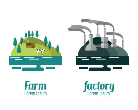 factory farm: Farm and Factory landscape. flat design elements. vector illustration Illustration