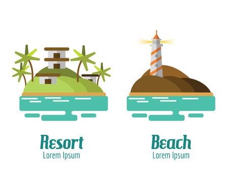 mountain landscape: Resort and Beach landscape. flat design elements. vector illustration