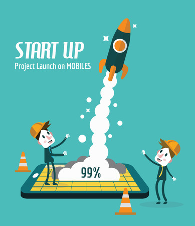 mobile phones: Business people control rocket launching on Mobile. Startup and Development concept. flat design elements. vector illustration